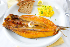 Kippers poached in milk